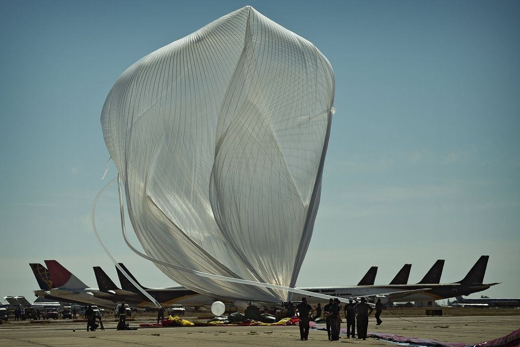 High altitude balloon twists in the wind at Red Bull Stratos Mission to the Edge of Space